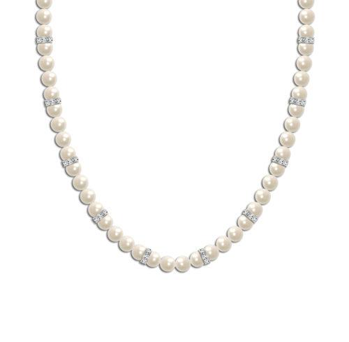 Crystal Elegance Pearl Bridal Necklace