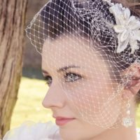 Chez Bec Sarah Birdcage Veil £120, Viola II Earrings £56, Viola  Necklace £64
