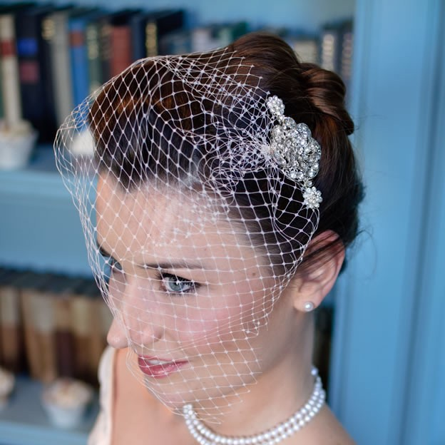 Chez Bec Sophia Birdcage Veil £102, Mimosa Necklace £98, Ivory Elegance Earrings £22