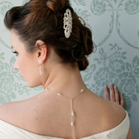 Chez Bec Sylvia Hair Comb £70, Scarlett Earrings £32, Scarlett Backdrop Necklace £72