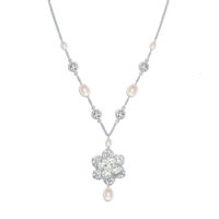Viola Vintage Pearl and Crystal Bridal Necklace