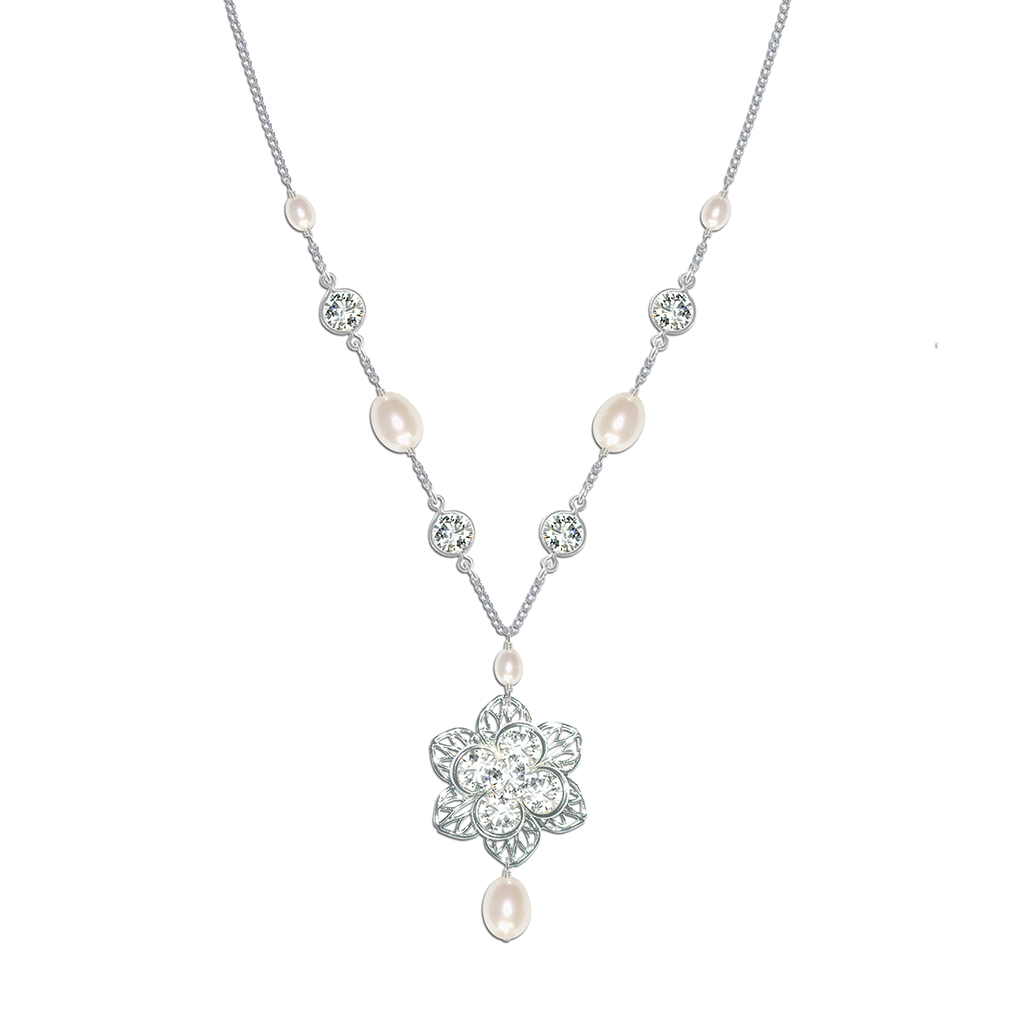 Vintage pearl and crystal bridal necklace viola vintage pearl and crystal bridal necklace mozeypictures Gallery