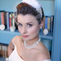 Chez Bec Vvienne Birdcage Veil £118, Sarah Necklace £128, Ivory Elegance Earrings £22