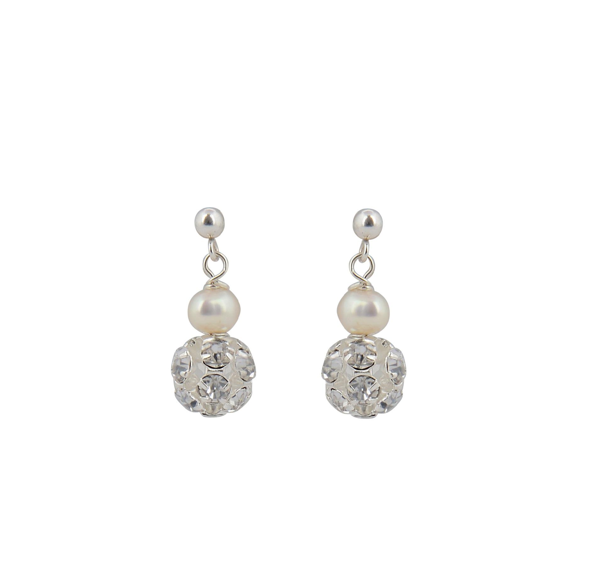 Abi Pearl And Diamante Bridal Earrings Chez Bec