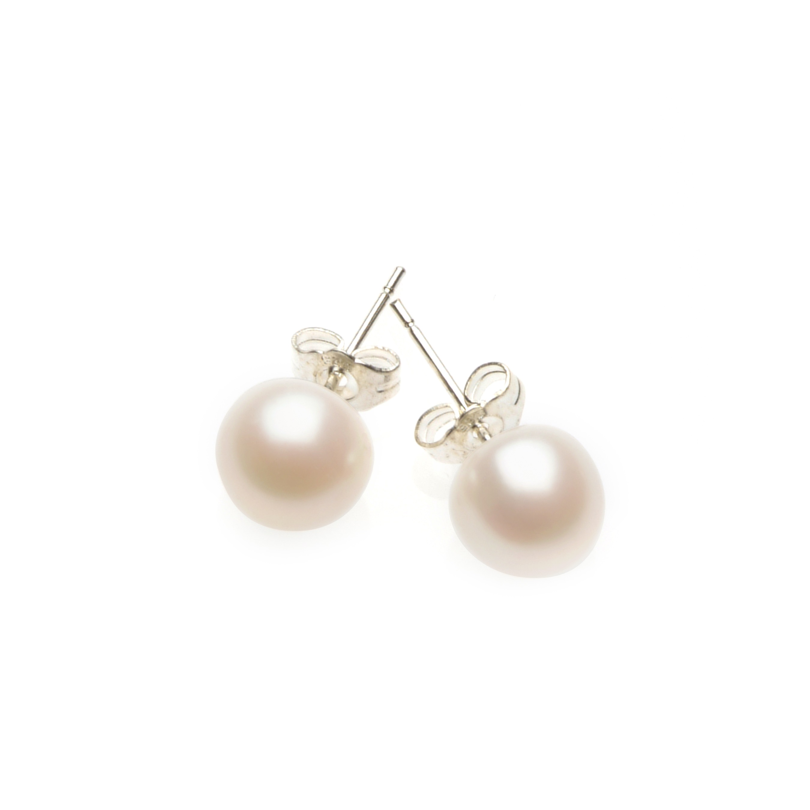 stud pearl freshwater pink earrings
