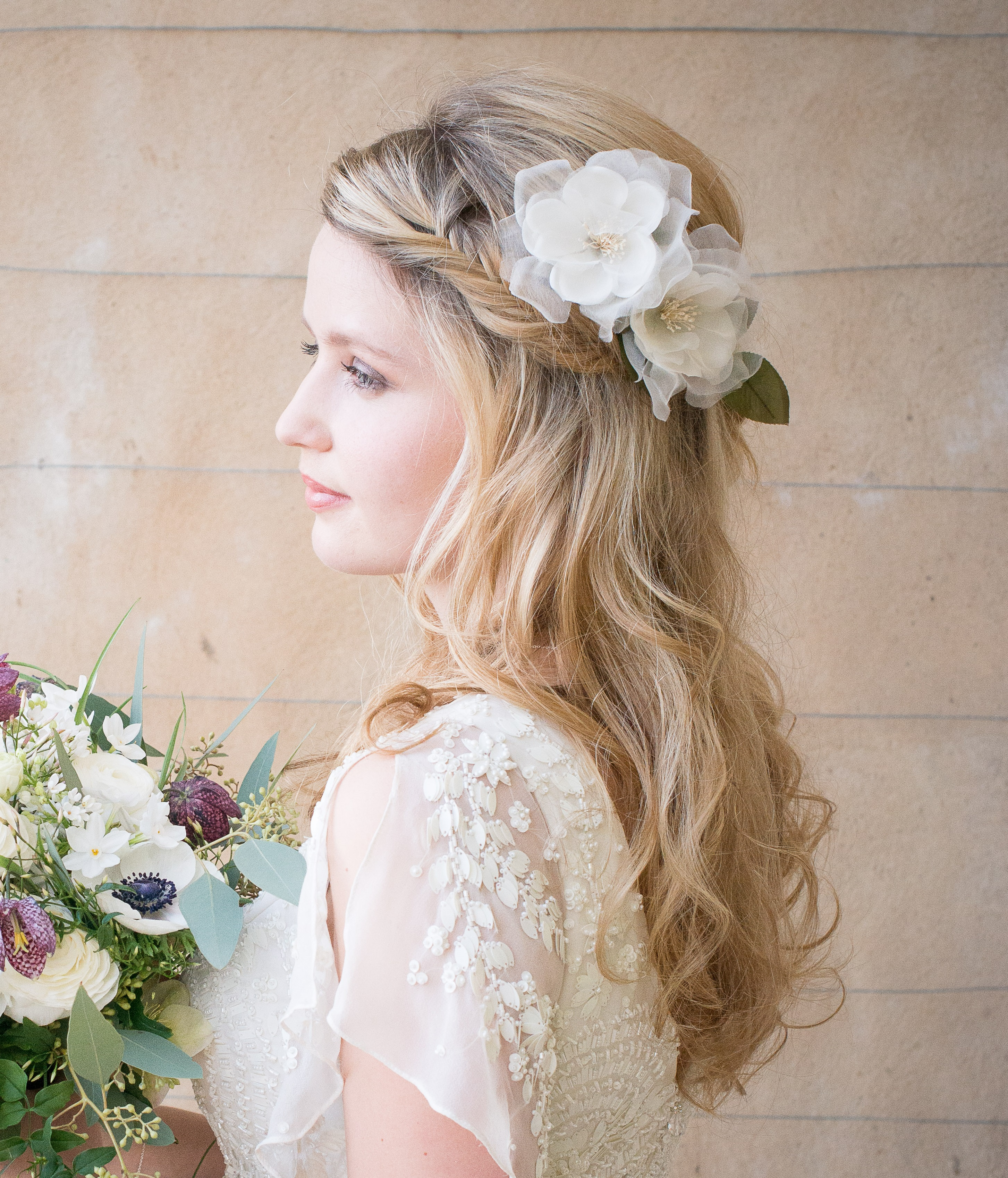 Flowers For Hair Wedding Australia : Frances peach bridal hair flower chez bec