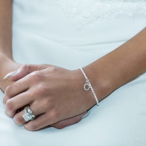 Stella pearl bracelet with halo charm
