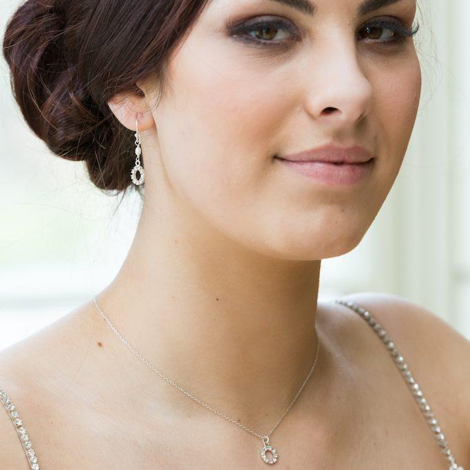 220808a7c409e Stella bridal pearl and diamante halo drop earrings