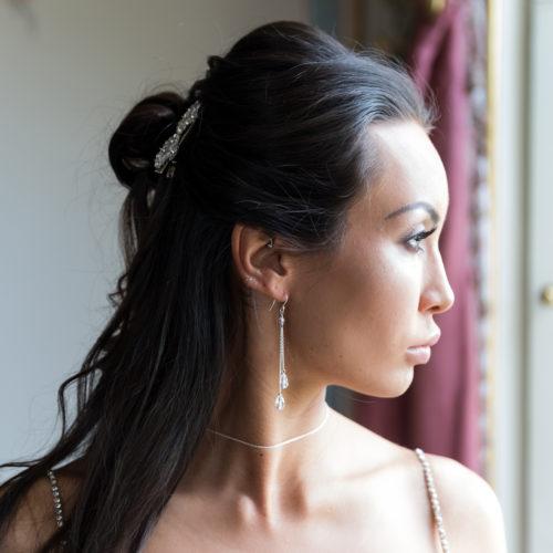 Lili long drop bridal earrings