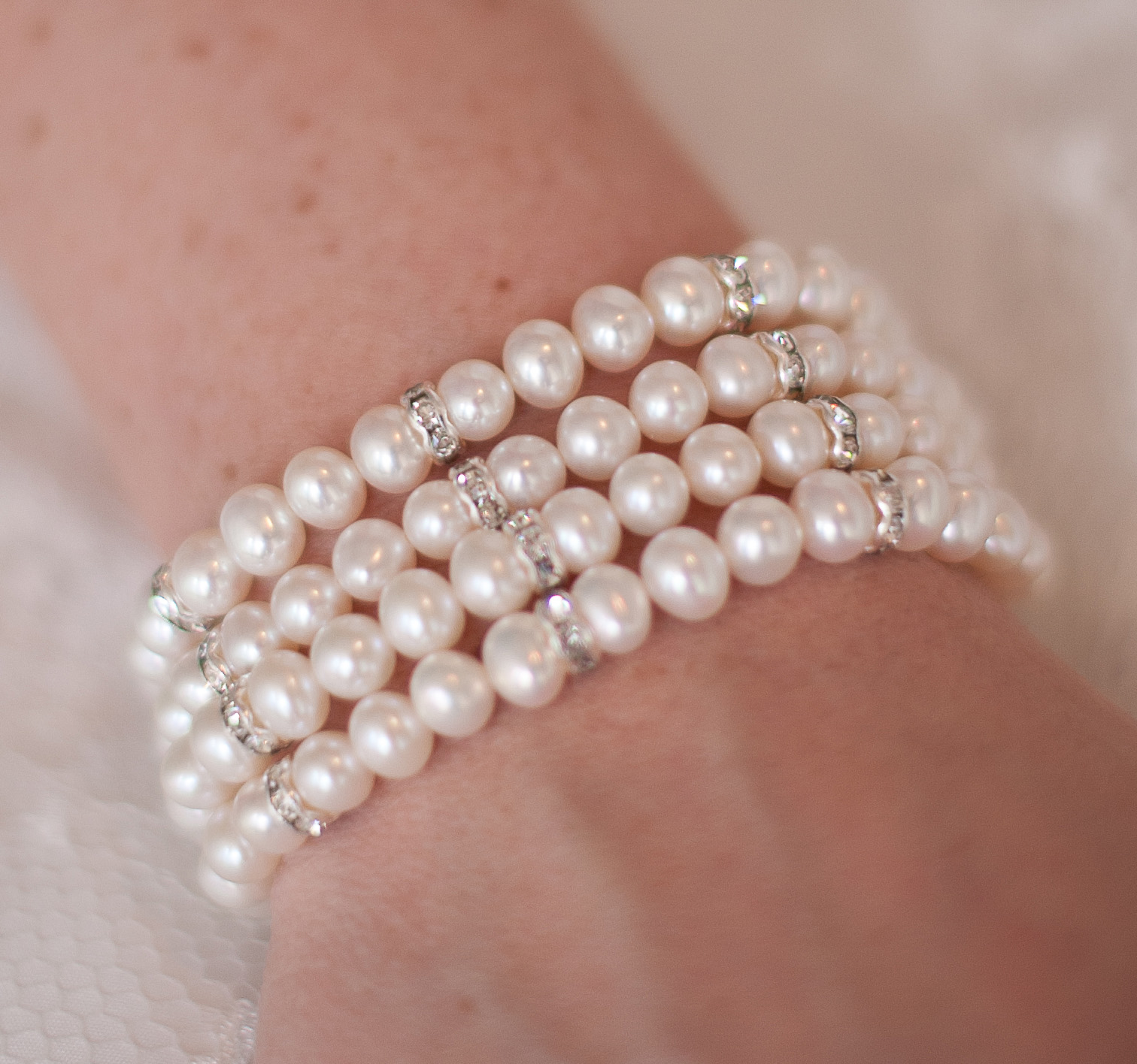 Crystal Elegance Ii Four Row Pearl Bridal Bracelet
