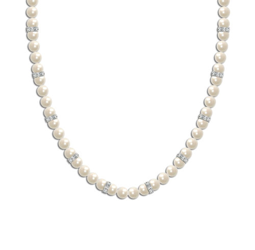 Crystal Elegance Pearl Bridal Necklace