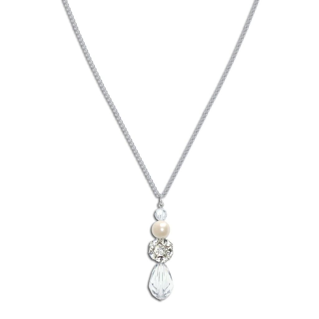 Sylvia Pearl and Crystal Bridal Pendant