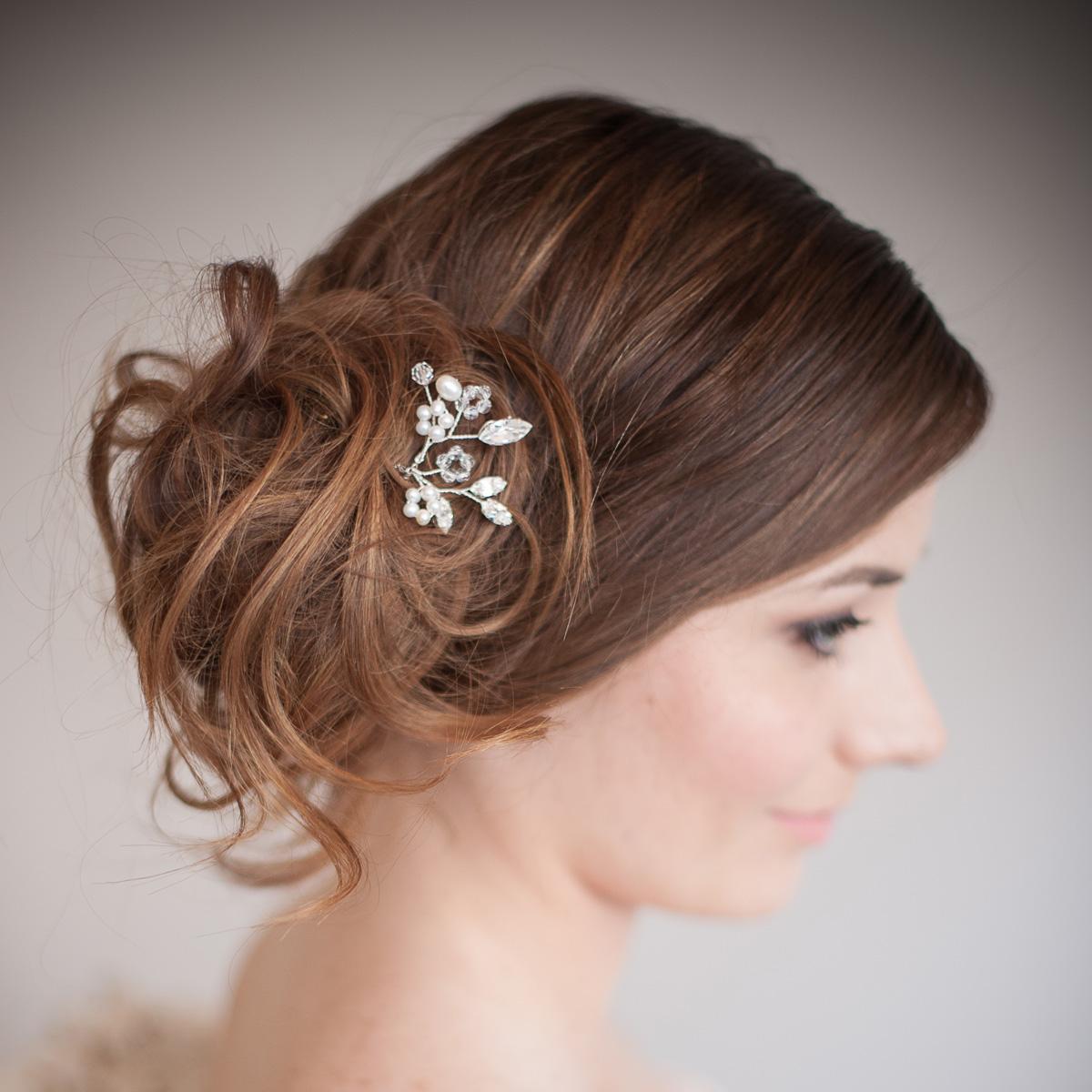 blossom pearl and crystal bridal hair pin - chez bec