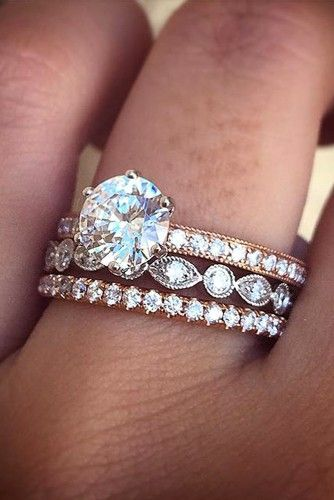 Engagement wedding eternity ring stacking
