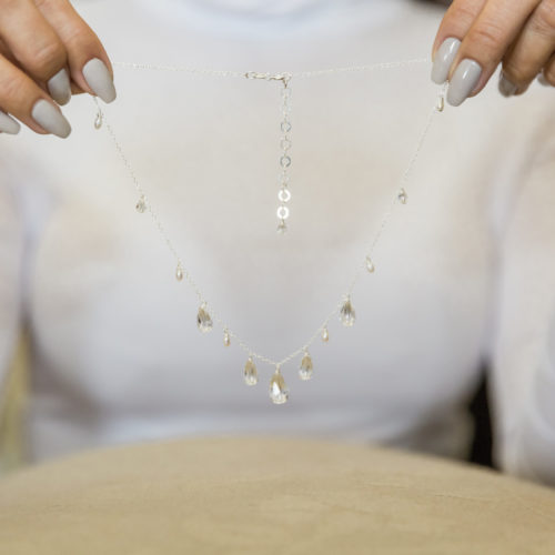 Lili Bridal crystal and pearl necklace