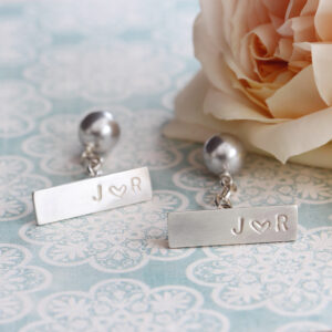 Personalised Silver and Swarovski Pearl Cufflinks